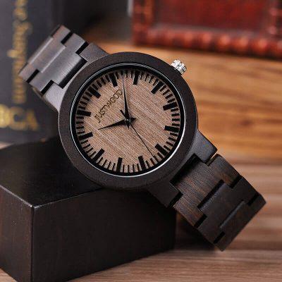 JUSTWOOD Augusta Ebony Mens Watch Wooden watches Wristwatch Quartz Adjustable Band