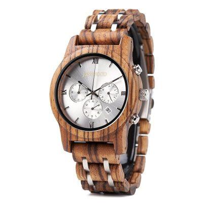 vogue silverline side wooden watch JUSTWOOD Bamboo Watches Australia Treehut wewood