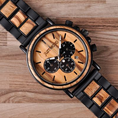 JUSTWOOD Coachmen Zebra Chronograph Mens Watch Wooden watches Wristwatch Quartz Adjustable Band