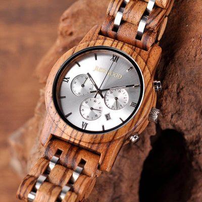 JUSTWOOD Vogue Silverline Chronograph Mens Watch Wooden watches Wristwatch Quartz Adjustable Band