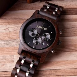 JUSTWOOD Vogue Hercules Stopwatch Mens Watch Wooden watches Wristwatch Quartz Adjustable Band