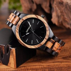 JUSTWOOD Apollo II Mens Watch Wooden watches Wristwatch Quartz Adjustable Band