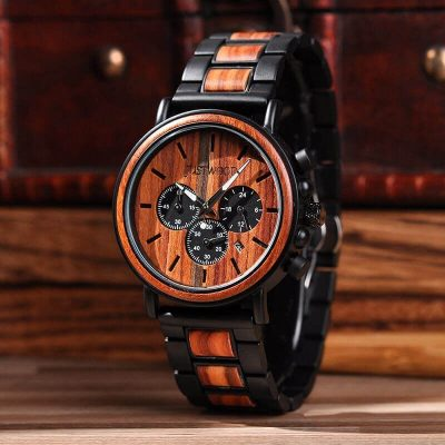 JUSTWOOD Coachmen Red Chronograph Mens Watch Wooden watches Wristwatch Quartz Adjustable Band