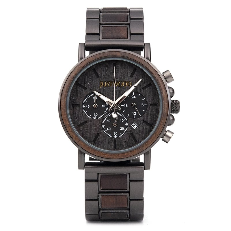 JUSTWOOD Coachmen Bronze Mens Wooden Watch Front