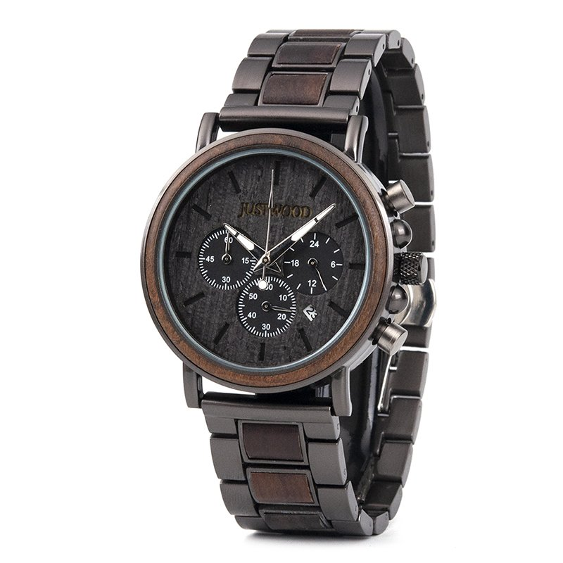 JUSTWOOD Coachmen Bronze Mens Wooden Watch Side