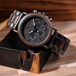 JUSTWOOD Coachmen Bronze Chronograph Mens Watch Wooden watches Wristwatch Quartz Adjustable Band