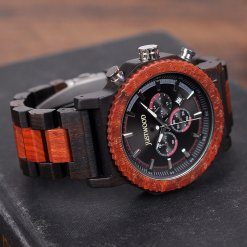 JUSTWOOD Carlos large Big Chronograph Mens Watch Wooden watches Wristwatch Quartz Adjustable Band