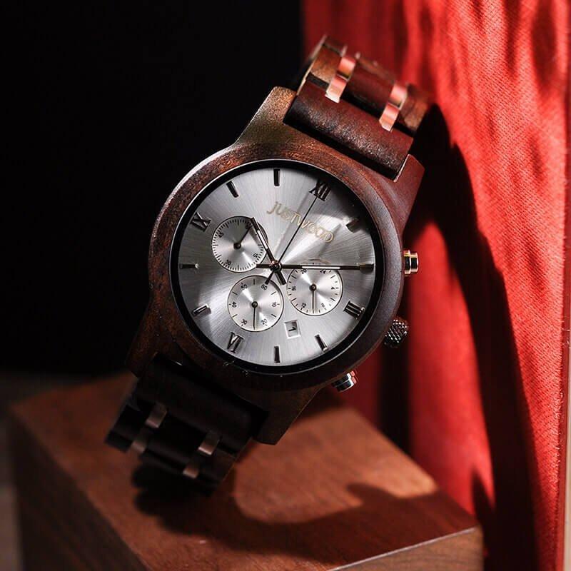 JUSTWOOD Vogue Lightning Chronograph Mens Watch Wooden watches Wristwatch Quartz Adjustable Band