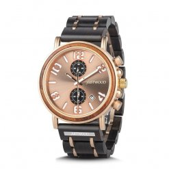 Marcus Rose Gold Mens Wood & Steel watch