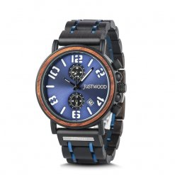 Marcus Blue Mens Wooden steel watch Front