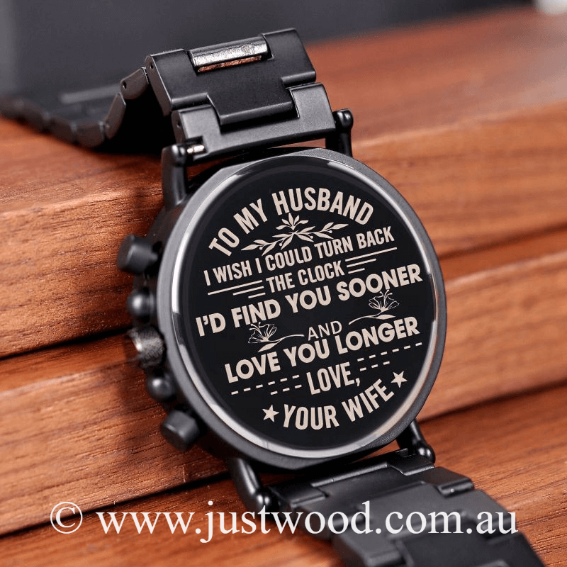 032 Engraved Mens Watch husband id find you sooner