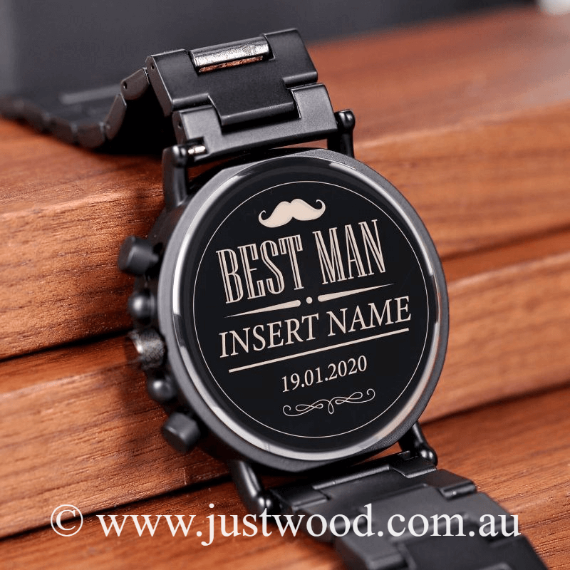 035 Engraved Mens Watch Best Man Groomsmen